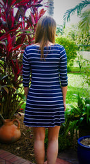 Navy & White Stripe Dress with Criss Cross Front