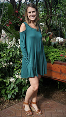 Hunter Green Cold Shoulder Long Sleeve Dress with Pockets