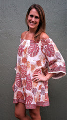 Coral and Tan Leaf Print Tunic