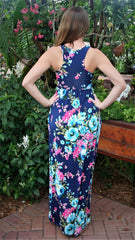 Navy Blue Floral Maxi Dress - Midnight Magnolia Boutique