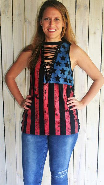 Black All American Sleeveless Top with Lace Up V-Neck