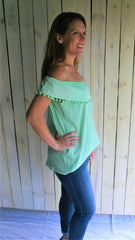 Mint Green Off the Shoulder Top with Pom Poms