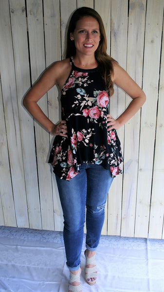 Navy Blue Floral Racerback Tank Top