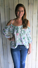 Ivory & Green Floral Cold Shoulder Top with Ruffle - Midnight Magnolia Boutique