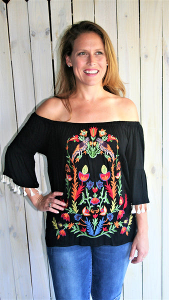 Black Embroidered Off Shoulder Top with Tassels