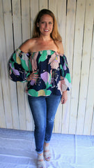 Navy Blue Floral Print Off-Shoulder Top with Bubble Sleeves - Midnight Magnolia Boutique