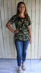 Camouflage Tee Shirt with Lace Up V Neck - Midnight Magnolia Boutique