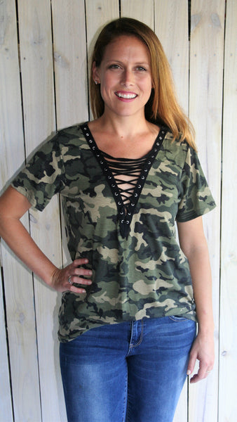 Camouflage Tee Shirt with Lace Up V Neck