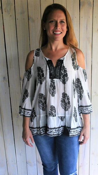Black & White Bohemian Cold Shoulder Top