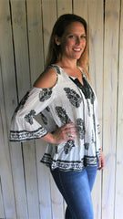 Black & White Bohemian Cold Shoulder Top - Midnight Magnolia Boutique