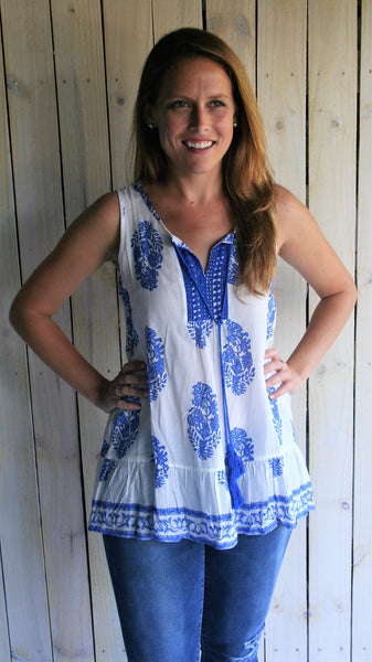 Royal Blue & White Bohemian Sleeveless Top