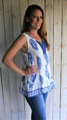 Royal Blue & White Bohemian Sleeveless Top - Midnight Magnolia Boutique
