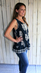 Navy Blue & Taupe Bohemian Sleeveless Top with Tassels