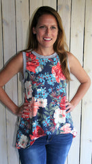 Navy Floral Sleeveless French Terry Sleeveless Top - Midnight Magnolia Boutique