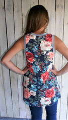 Navy Floral Sleeveless French Terry Sleeveless Top