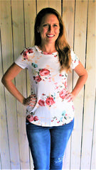 White Floral Print Long Sleeve Tee - Midnight Magnolia Boutique