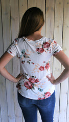 White Floral Print Short Sleeve Tee