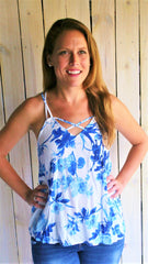 Royal Blue & White Floral Print Tank with Cut Out Back - Midnight Magnolia Boutique