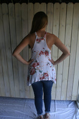 White Floral Print Racerback Tank Top - Midnight Magnolia Boutique