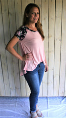 Pink & Navy Floral Baseball Tee Shirt - Midnight Magnolia Boutique