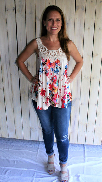 Pink, Red and Blue Floral Top with Seashell Embroidery - Midnight Magnolia Boutique
