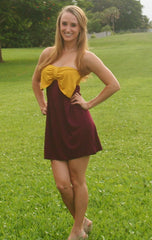 FSU Rules! Garnet & Gold Strapless Gameday Dress - Midnight Magnolia Boutique