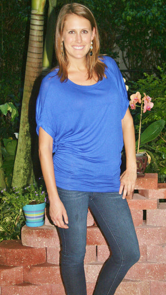 Royal Blue, Dolman Sleeve &  Gathered at Bottom, Loose Top - Midnight Magnolia Boutique