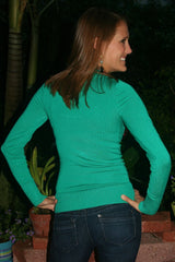 Emerald Green Long Sleeved Sweater With Scooped Neck Line - Midnight Magnolia Boutique