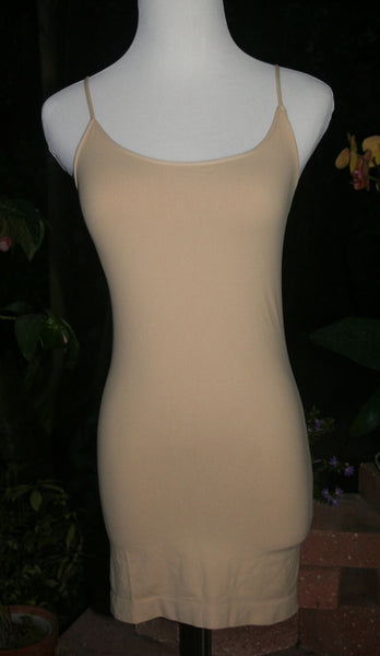Beige Spaghetti Strap Long Tank Top Undergarment for Short Dresses - Midnight Magnolia Boutique