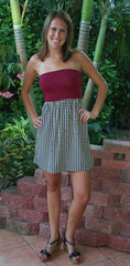 Garnet Houndstooth Short Gameday Dress - Midnight Magnolia Boutique
