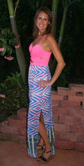 Hot Pink Cut-Out Maxi Dress - Midnight Magnolia Boutique
