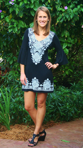 Pretty Black V-Neck Print Dress - Midnight Magnolia Boutique