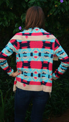 Coral and Aqua Aztec Print Cardigan - Midnight Magnolia Boutique
