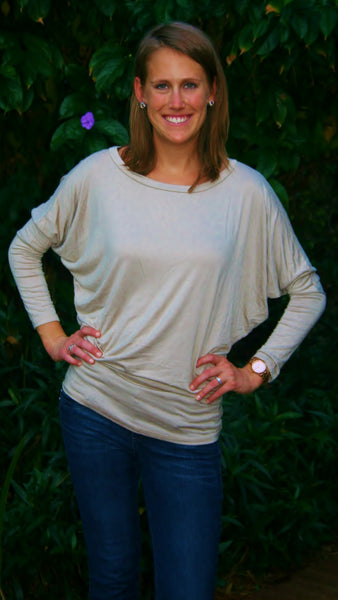 Khaki Long Sleeve Top with Dolman Sleeves & Scooped Neckline. - Midnight Magnolia Boutique