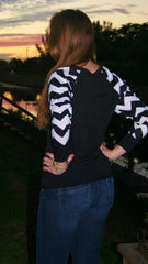 Black Top with Black & White Chevron Sleeves - Midnight Magnolia Boutique