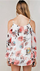 Ivory, Coral and Grey Floral Cold Shoulder Top - Midnight Magnolia Boutique