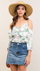 Ivory & Green Floral Cold Shoulder Top with Ruffle
