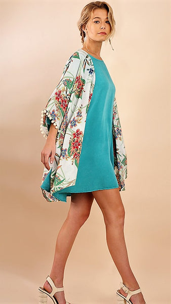 Ivory Floral Kimono with Pom Pom Sleeves - Midnight Magnolia Boutique