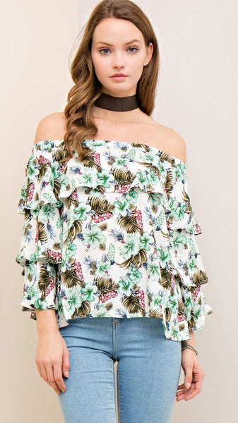 Ivory Floral Off the Shoulder Top - Midnight Magnolia Boutique