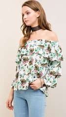 Ivory Floral Off the Shoulder Top