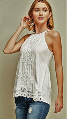 Ivory Halter Top with Crochet Details - Midnight Magnolia Boutique