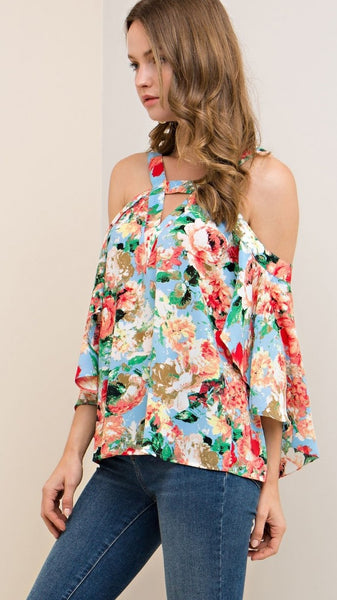 Light Blue Floral Open Shoulder Top with Waterfall Sleeves - Midnight Magnolia Boutique