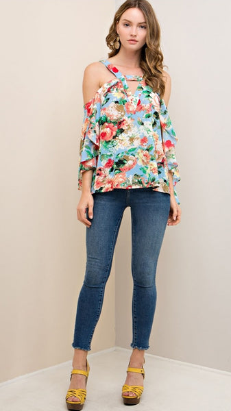 f25682298bdc53 ... Light Blue Floral Open Shoulder Top with Waterfall Sleeves - Midnight  Magnolia Boutique ...