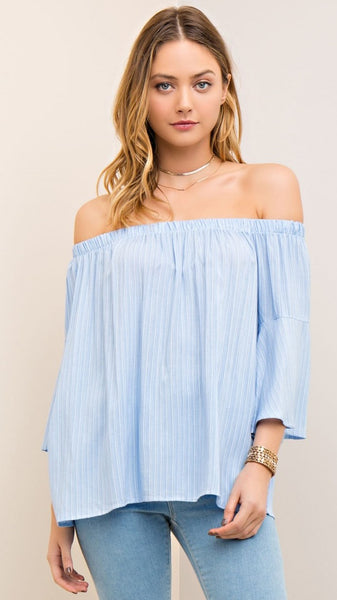 Light Blue & White Pin Stripe Off Shoulder Top