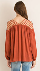 Terra Cotta Top with Strappy Cut out Shoulders