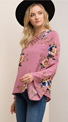 Mauve Floral Top with Criss-Cross Front - Midnight Magnolia Boutique