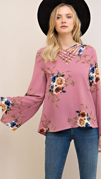 Mauve Floral Top with Criss-Cross Front