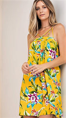 Mustard Floral Strappy Dress with O Ring - Midnight Magnolia Boutique