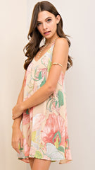 Pink & Natural Floral Dress with Strappy Back Detail - Midnight Magnolia Boutique