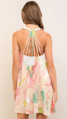 Pink & Natural Floral Dress with Strappy Back Detail